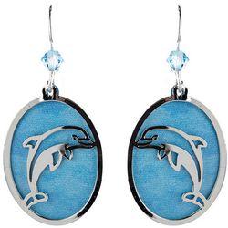 BLUESTONE Oval Laser Cut Dolphin Drop Earrings