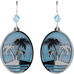 BLUESTONE Oval Laser Cut Palm Tree Drop Earrings