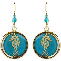 BLUESTONE Gold Tone Seahorse & Resin Dome Drop Earrings