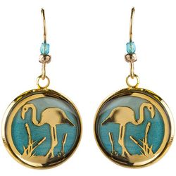 BLUESTONE Gold Tone Flamingo & Resin Dome Drop Earrings