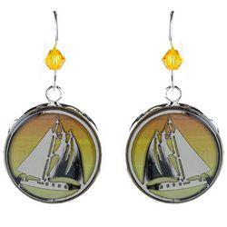 BLUESTONE Sailboat & Resin Dome Drop Earrings