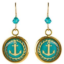 BLUESTONE Gold Tone Coastal Anchor & Resin Dome Earrings