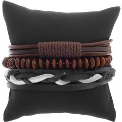 Maori Hook Mens 3-pc. Wood Beads & Leather Bracelet Set