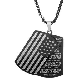 1913 Mens Lord's Prayer American Flag Necklace