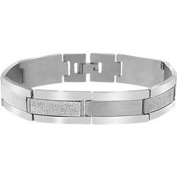 1913 Mens Stainless Steel Rectangle Link Bracelet