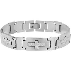 1913 Mens Stainless Steel Rectangle Link Cross Bracelet