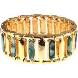 MAX STUDIO Green Marble Geo Link Stretch Bracelet