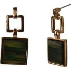 MAX STUDIO Green Resin Square Drop Earrings