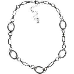 MAX STUDIO Silver Tone Oval Ring Link Necklace