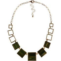 MAX STUDIO Green Resin Square Frontal Necklace