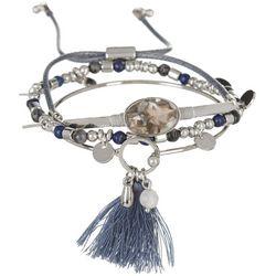 MAX STUDIO Blue Bead Bangle Slide Trio Bracelet Se