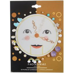 FAO SCHWARZ Girls Clock 12-pc. Earrings Set