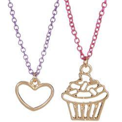 FAO SCHWARZ Girls 2-pc. Heart & Cupcake Necklace Set