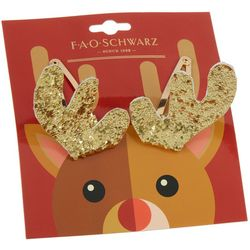 FAO SCHWARZ Girls 2-pc. Glitter Reindeer Hair Clip Set