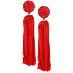Daisy Fuentes Red Post Top Long Tassel Earrings