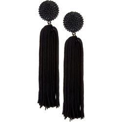 Daisy Fuentes Black Post Top Thread Tassel Earring