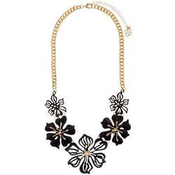 Daisy Fuentes Black Flower Statement Necklace