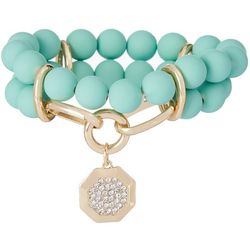 daisy fuentes Mint Beaded Stretch Bracelet