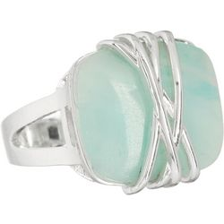 City by City Aqua Blue Stone Silver Tone Ring
