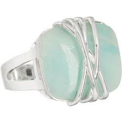 City by City Aqua Blue Stone Silver Tone Ring