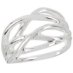 City by City Silver Tone Open Weave Ring
