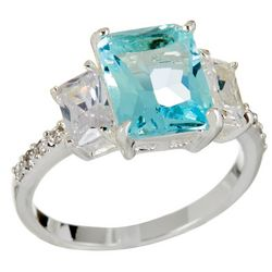 City by City Aqua Blue & Clear Stones Ring