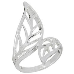 City by City Silver Tone Leaf Wrap Ring