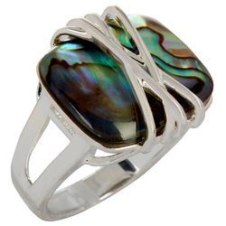City by City Abalone Wrapped Silver Tone Ring