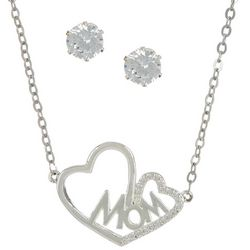 City by City Mom Heart Pendnat Necklace Set