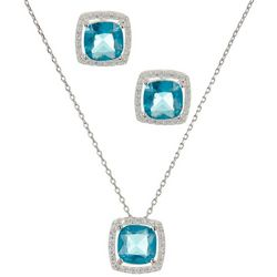 City by City CZ Square Halo Earrings & Necklace Set