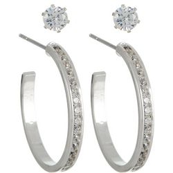 City by City Cubic Zirconia Stud & Hoop Earring Set