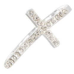 City by City Silver Tone Crystal Cross Ring