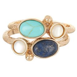City by City 2 Pc Lapis Cabochon & MOP Ring Set