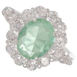 City by City Crystal Halo Green Oval Glass Ring