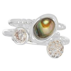 City by City 3 Pc Crystal & Abalone Ring Set
