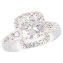 City by City Crystal Square Halo Round CZ Ring
