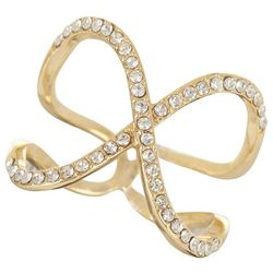City by City Gold Tone Crystal Crossover Ring