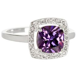 City by City Silver Tone & Purple Square Halo Ring