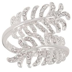 City by City Pave Crystal Double Leaf Wrap Ring