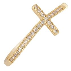 City by City Gold Tone Crystal Cross Ring