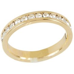 City by City Gold Tone Eternity CZ Band Ring