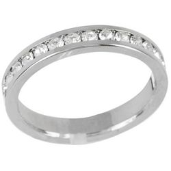 City by City Silver Tone Eternity CZ Band Ring