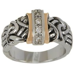 City by City Silver Tone Filigree CZ Ring