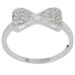 City by City Silver Tone Pave Bow Ring