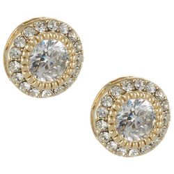 City by City Gold Tone CZ Round Earrings