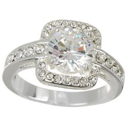 City by City Round Stone Pave Square Set CZ Ring