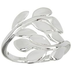 City by City Silver Tone Solid Leaf Wrap Ring