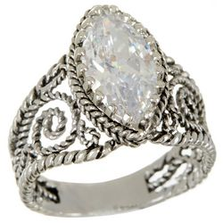 City by City Clear Stone Cubic Zirconia Filigree Ring