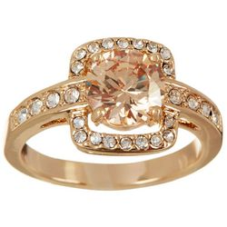 City by City Round Stone Square Set Gold Tone Pave CZ Ring