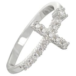 City by City Silver Tone Cubic Zirconia Cross Ring